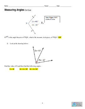 Geometry- Measuring Angles- Exit Ticket, Quiz or Homework