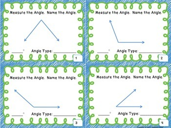 Geometry - Measuring and Identifying Angles Task Cards
