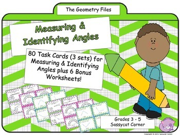 Geometry - Angles Measuring and Identifying Task Cards