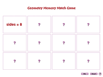 Geometry: Memory Match Game - NOTEBOOK Gr. 3-5