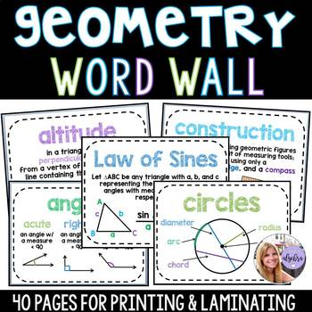 Geometry - Middle School & High School - 40 Page Word Wall - Growing Set!