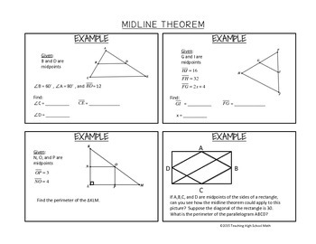 Geometry Midline (Midsegment) Theorem Notes and Examples
