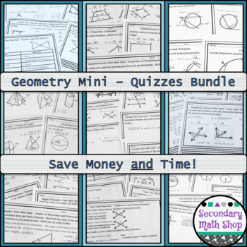 Geometry Mini-Quizzes Money Saving BUNDLE!