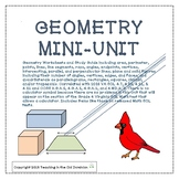 Geometry Mini-Unit with Quadrilaterals, Solids, Points, Lines, Perimeter, & Area