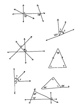 Geometry Missing Angle Puzzles Supplementary Parallel Right Perpendicular Bisect
