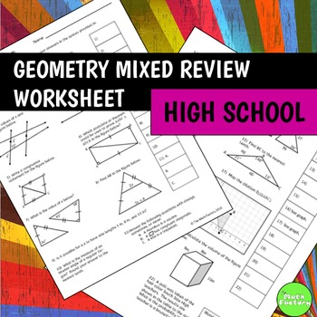 worksheet: Geometry Review Worksheets High School Fun Math For ...