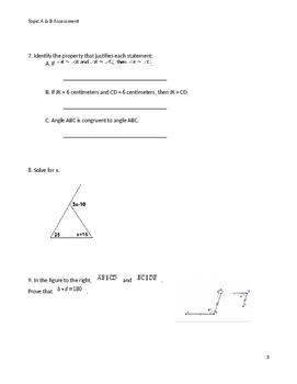 Geometry Module 1 Topic AB Exam
