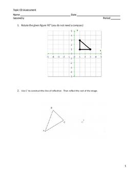 Geometry Module 1 Topic CD Exam