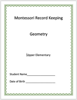 Geometry Montessori Record Keeping