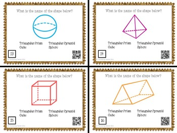 Geometry - Name the 2D and 3D Shapes Task Cards with QR Codes
