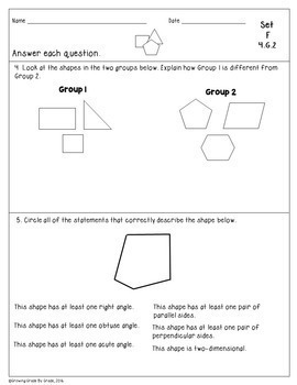 Geometry Worksheets No Prep 4th Grade Word Problems Posters Teaching Notes