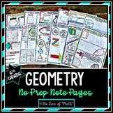 Geometry No Prep Note Bundle 6th Grade