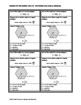 Geometry Notebook Tape-In: Polygons and Angle Measure