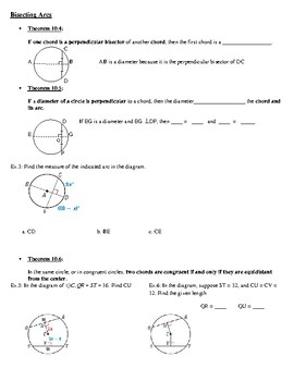 Geometry Notes: Apply Properties of Chords