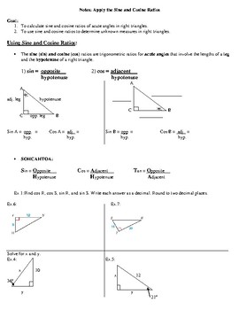 Geometry Notes: Apply the Sine and Cosine Ratios