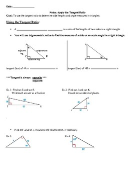 Geometry Notes: Apply the Tangent Ratio