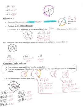 Geometry Notes: Arc Measures