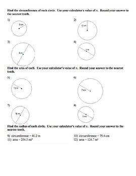 Geometry Notes: Circumference and Area of Circles