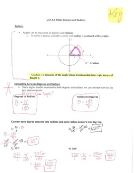 Geometry Notes: Converting Degrees and Radians