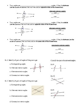 Geometry Notes: Identify Pairs of Lines and Angles