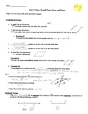 Geometry Notes: Identify Points, Lines, and Planes Answer KEY