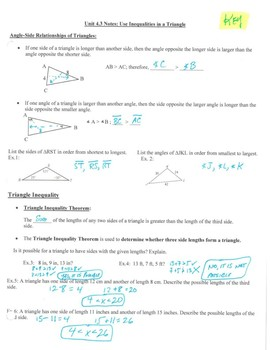 Geometry Notes: Inequalities in a Triangle
