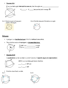 Geometry Notes: Inscribed Angles and Polygons