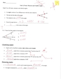 Geometry Notes: Measure and Classify Angles w/ Answer Key