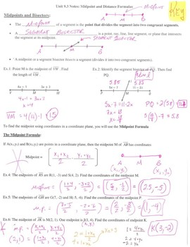 Geometry Notes: Midpoint and Distance Formulas