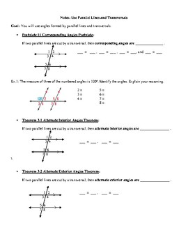 Geometry Notes: Parallel Lines and Transversals