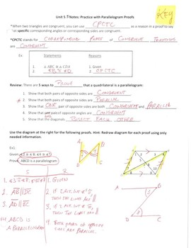 Geometry Notes: Parallelogram Proofs