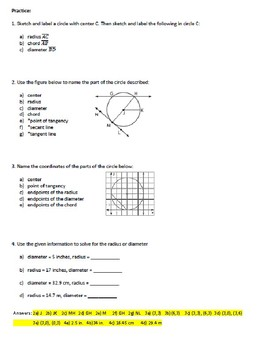 Geometry Notes: Parts of a Circle