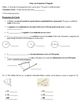 Geometry Notes: Properties of Tangents