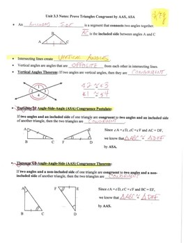 Geometry Notes: Prove Triangles Congruent by ASA, AAS
