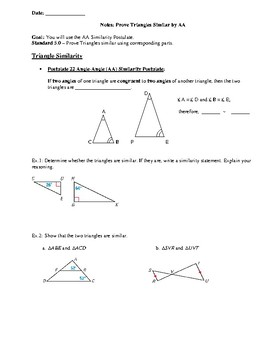 Geometry Notes: Prove Triangles Similar by AA