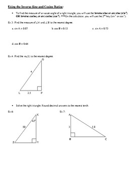 Geometry Notes: Solving Right Triangles and Inverse Trig Functions
