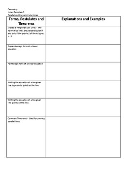Geometry Notes Template 3 - Parallel and Perpendicular Lines, Transversals
