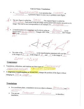 Geometry Notes: Translations