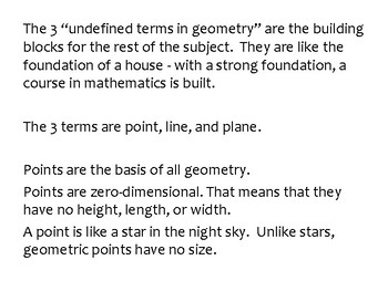 Geometry Notes -- Undefined terms, Euclidean Postulates