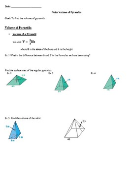 Geometry Notes: Volume of Pyramids