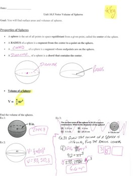 Geometry Notes: Volume of Spheres