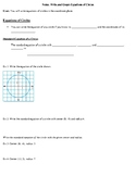 Geometry Notes: Write and Graph Equations of Circles w/ KEY