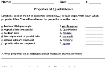 Geometry Notes and Worksheets