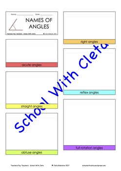 Different Types Of Angles (Acute, Right, Obtuse, Straight & Reflex) For Lapbooks