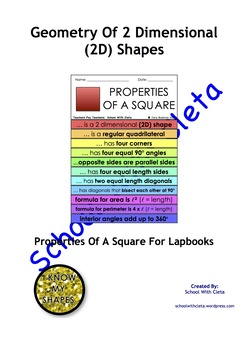 Geometry Of 2 Dimensional (2D) Shapes: Properties Of A Square For Lapbooks