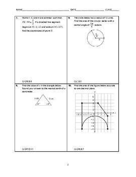 Geometry Open-Ended EOC Review