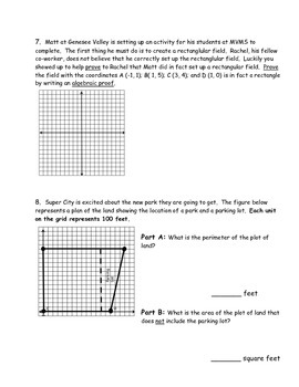 Geometry PARCC-lIke Questions - Algebraic Proofs and Transformations