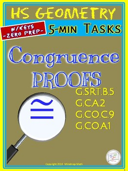 Geometry PROOFS: Congruence  (HS Geometry Curriculum in 5 min tasks - Unit 15)
