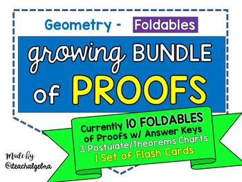 Geometry - PROOFS Growing Bundle of Foldables, Charts, and Flash Cards