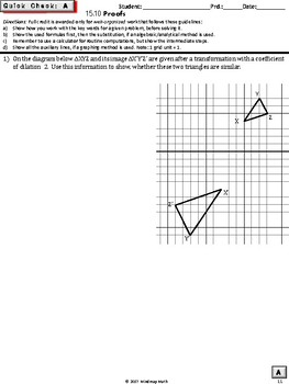 Geometry PROOFS:Similarity  (Geometry Curriculum in 5 min tasks - Unit 15)